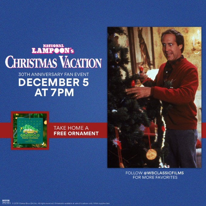 AMC Theatres: National Lampoon's Christmas Vacation 30th Anniversary Fan Event + Free Christmas Ornament on 12/5 for $8. Also, $5 from 12/6 - 12/12 (just the movie)