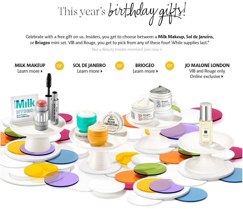 Free Sephora Birthday Gift 2020 (Milk Makeup, Sol de Janeiro, or Briogeo Mini Set)