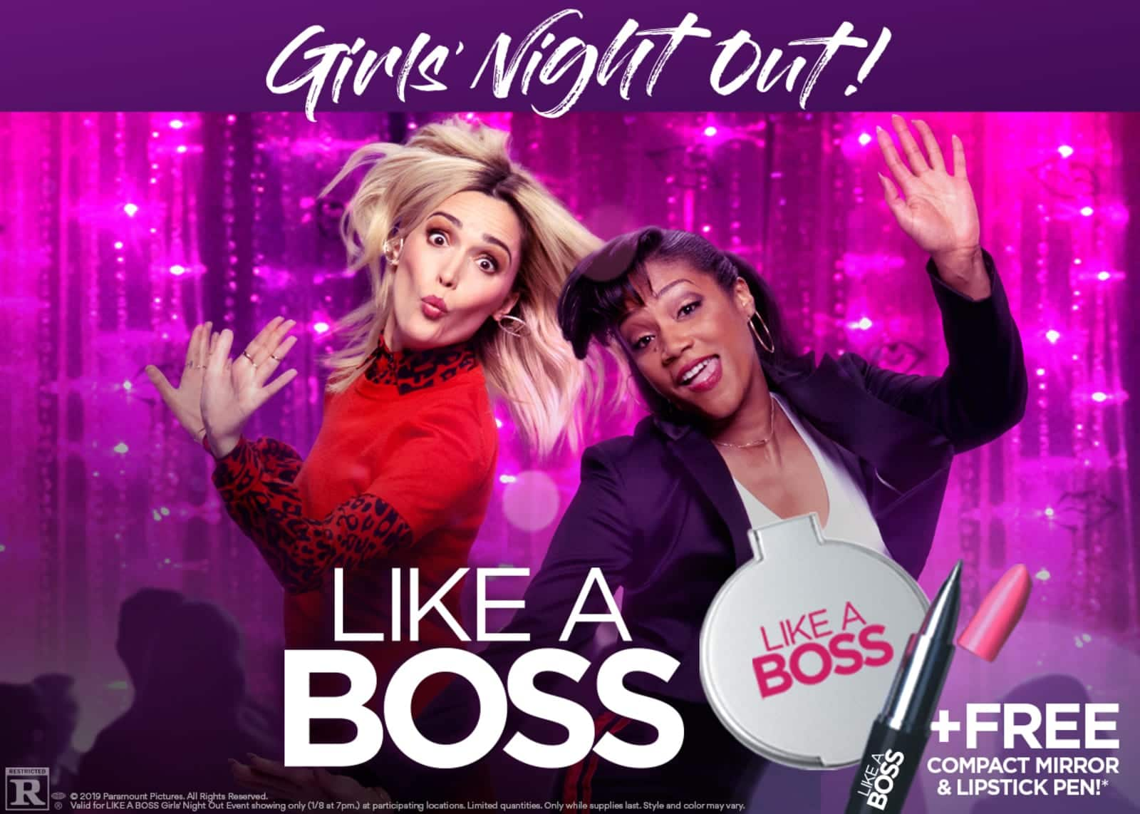 Buy a Movie Ticket for Like A Boss on 1/8 (Girls Night Out), Get Free Compact Mirror & Lipstick Pen