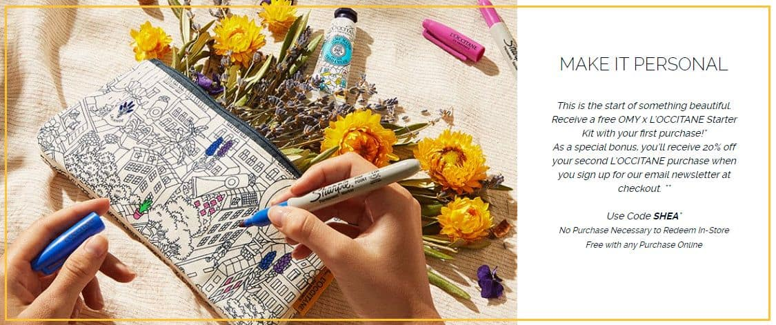 Free Omy x L'Occitane Starter Kit w/ Any $5+ Online Purchase (No Purchase Necessary to Redeem In-Store)