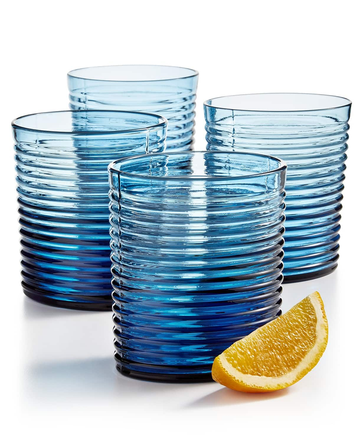 4-Piece The Cellar Blue Ribbed Double Old Fashioned Glasses