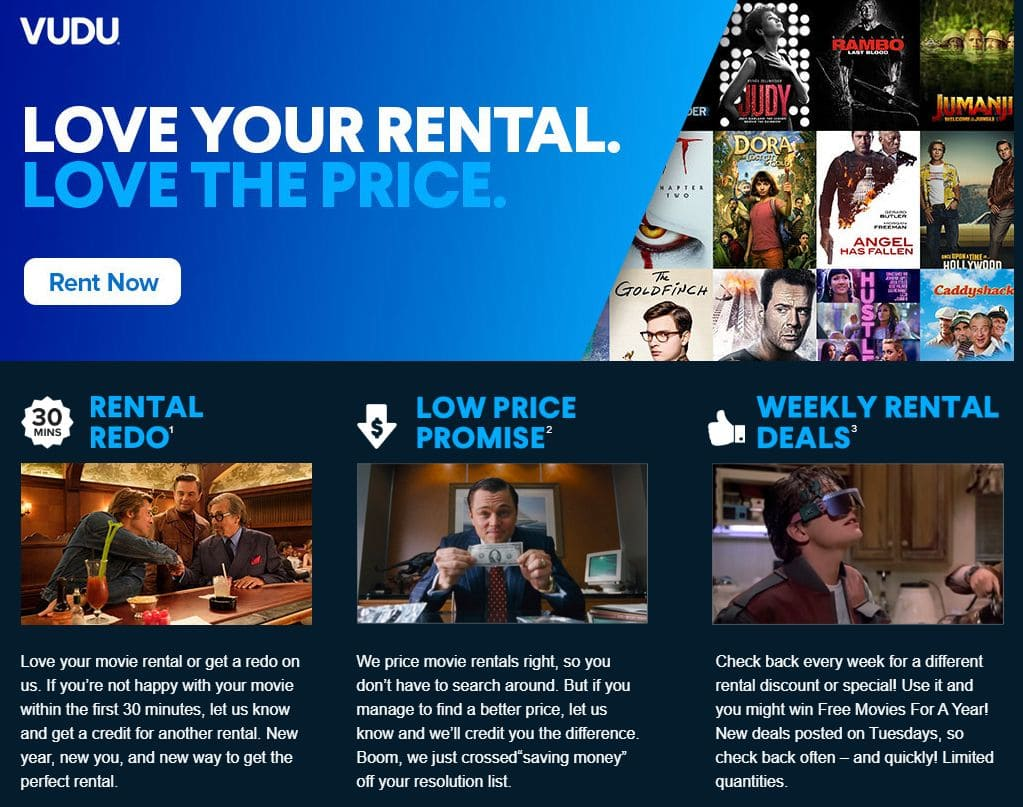PSA - Love your VUDU movie rental within 30-minutes or get a redo credit for another movie rental / Low Price Promise