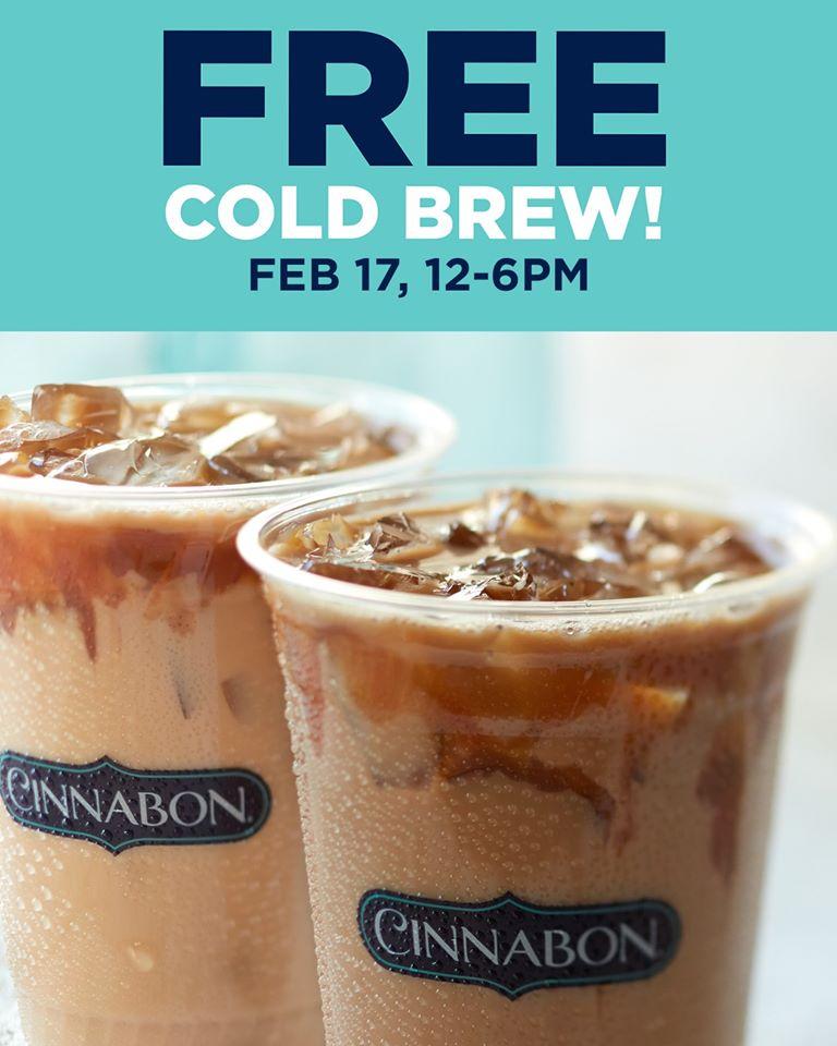 Cinnabon Mall Locations - Free Cold Brew Coffee on February 17th (12 - 6pm)