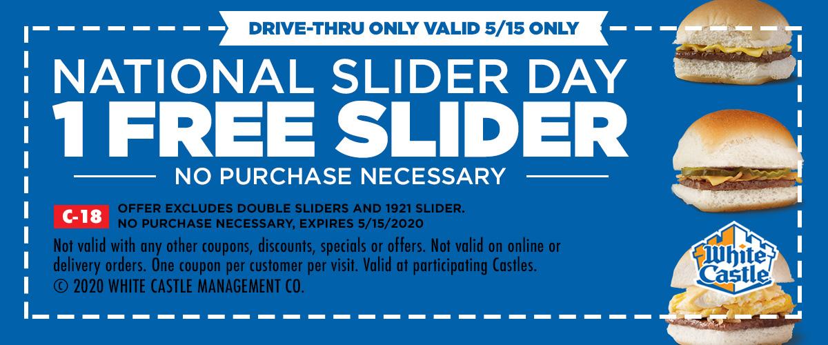 White Castle: Free Slider on 5/15 (National Slider Day) *No Purchase Necessary