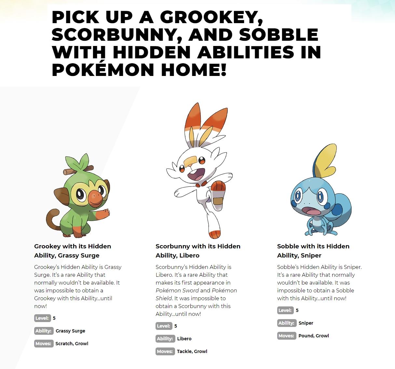 Free Sobble, Grookey, Scorbunny w/ Hidden Abilities for Pokemon Sword/Shield via Pokemon Home
