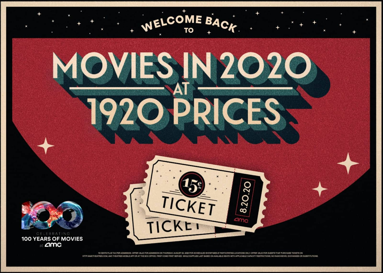 AMC Theatres: Movies Tickets for August 20th will be $0.15 (same price as 1920)