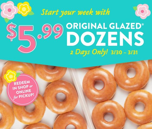 Krispy Kreme: $5.99 Original Glazed Dozen for In Shop or Online for Pickup (3/30 & 3/31 Only) *Valid for Rewards Members (free to join)