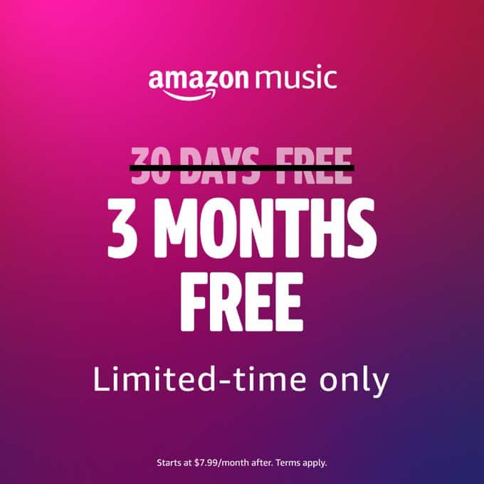 Amazon Music Unlimited: 3-Months Free for New Subscriber; 1-Month Free for Returning Subscribers