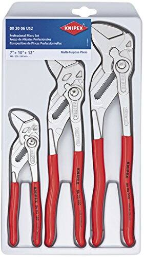 KNIPEX Tools 00 20 06 US2, Pliers Wrench 3-Piece Set $137.15