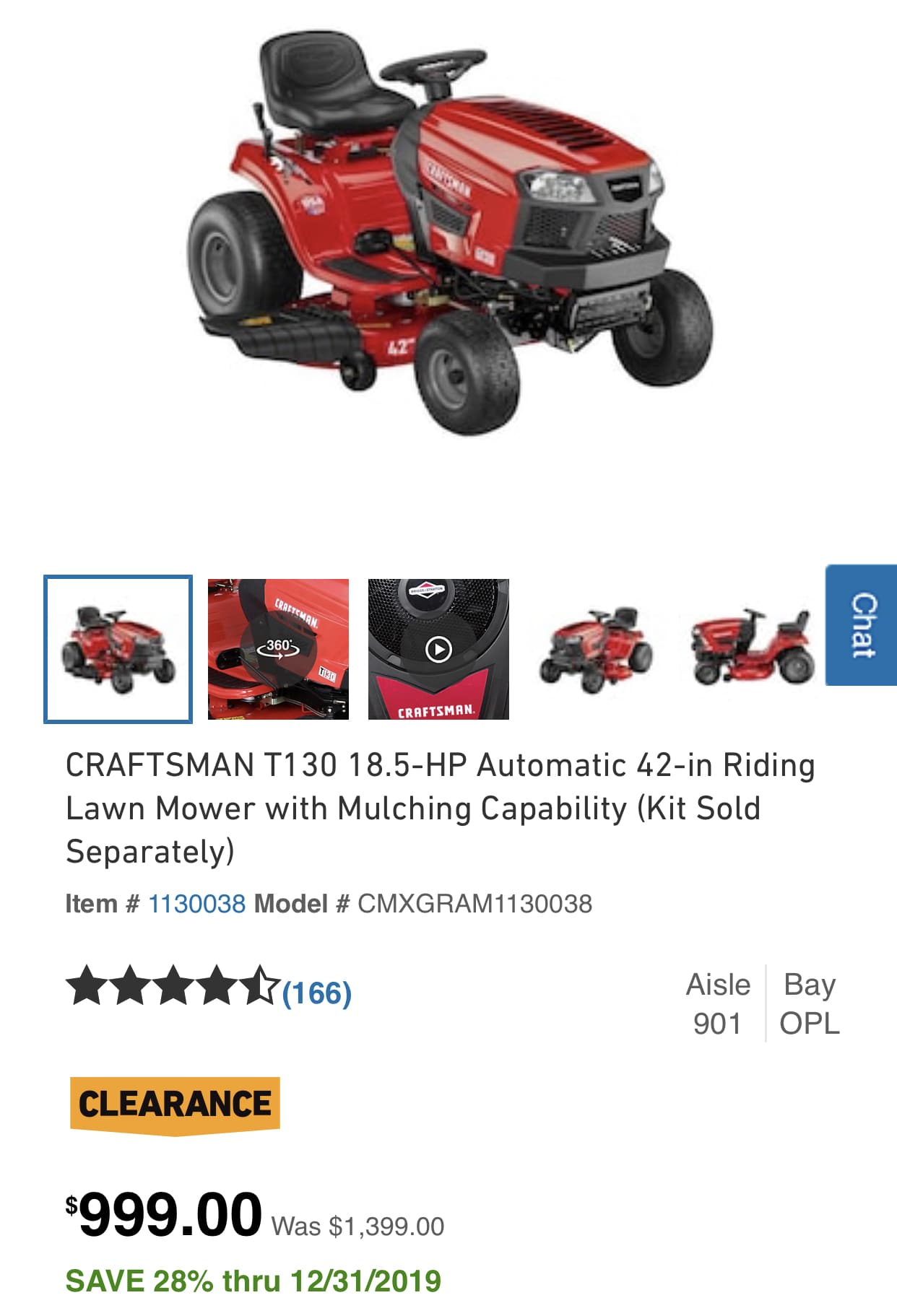 YMMV - CRAFTSMAN T130 18.5-HP Automatic 42-in Riding Lawn Mower with Mulching Capability $999