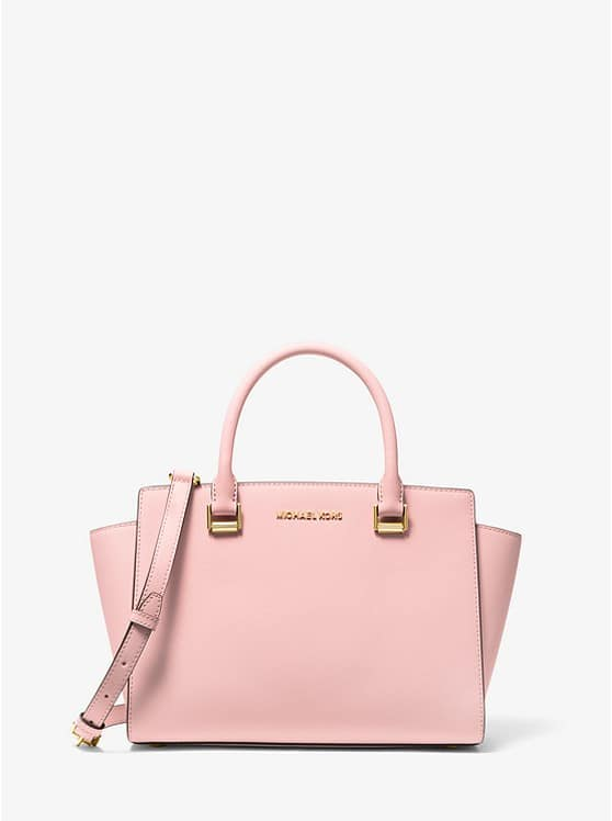 Michael Kors Selma Saffiano Leather Medium Satchel Bag (Blossom)
