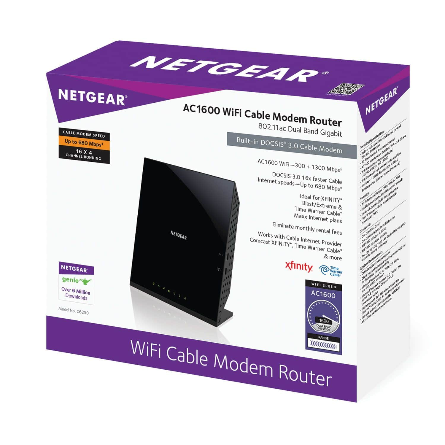 Netgear C6250 AC1600 Wifi Cable Modem Router Dual Band Gigabit Modem Router Combo on further clearance in stores at Walmart B&M YMMV rare $10