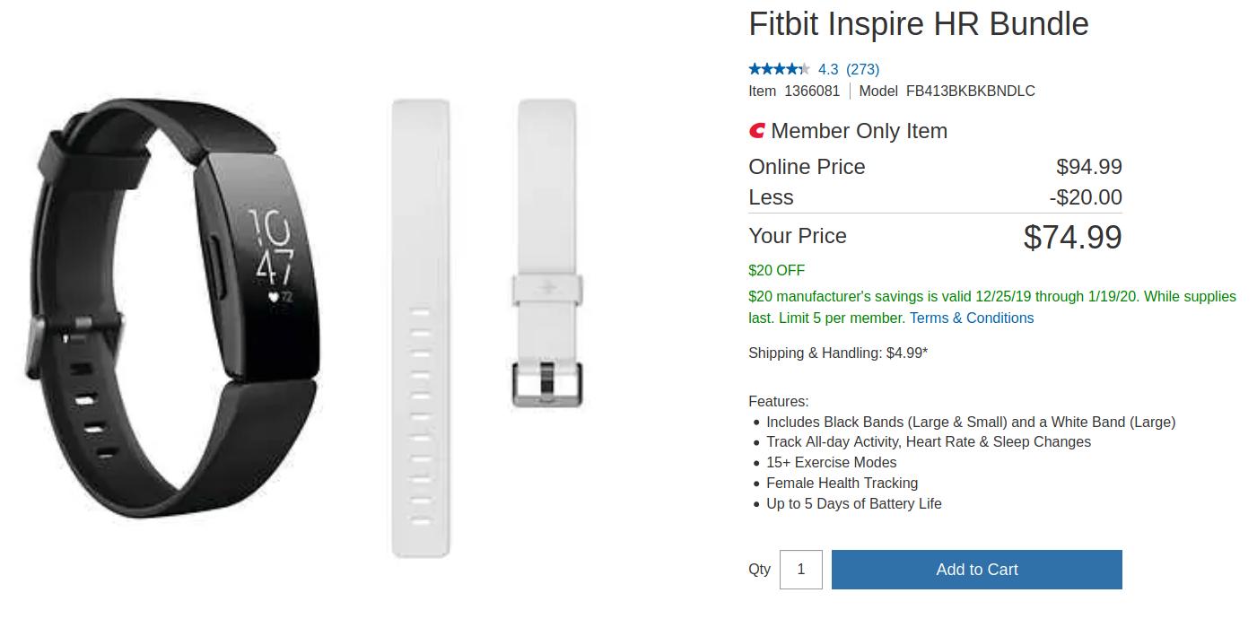 Fitbit Inspire HR Bundle - Costco Member Price $74.99