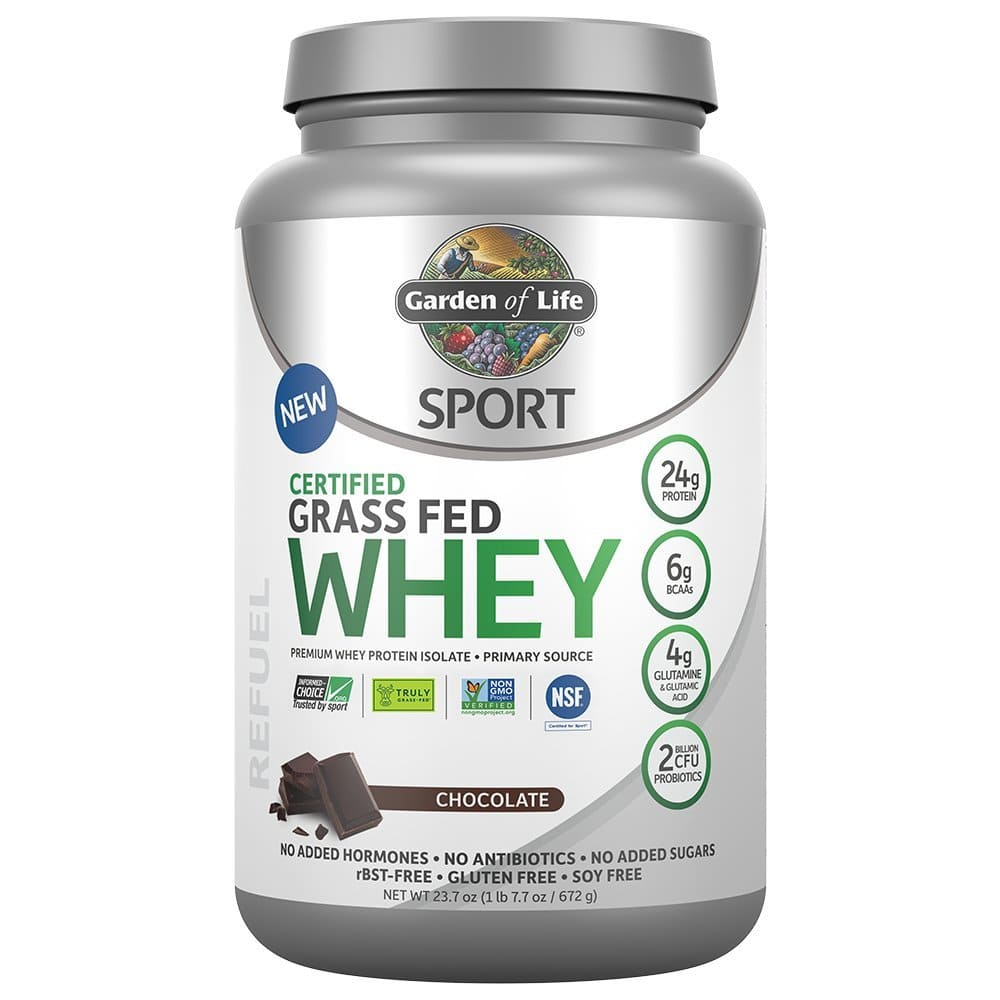 Garden of Life Sport Certified Grass Fed Clean Whey Protein Isolate Chocolate, 23.7oz (1lb 7.7oz / 672g) Powder $23.6
