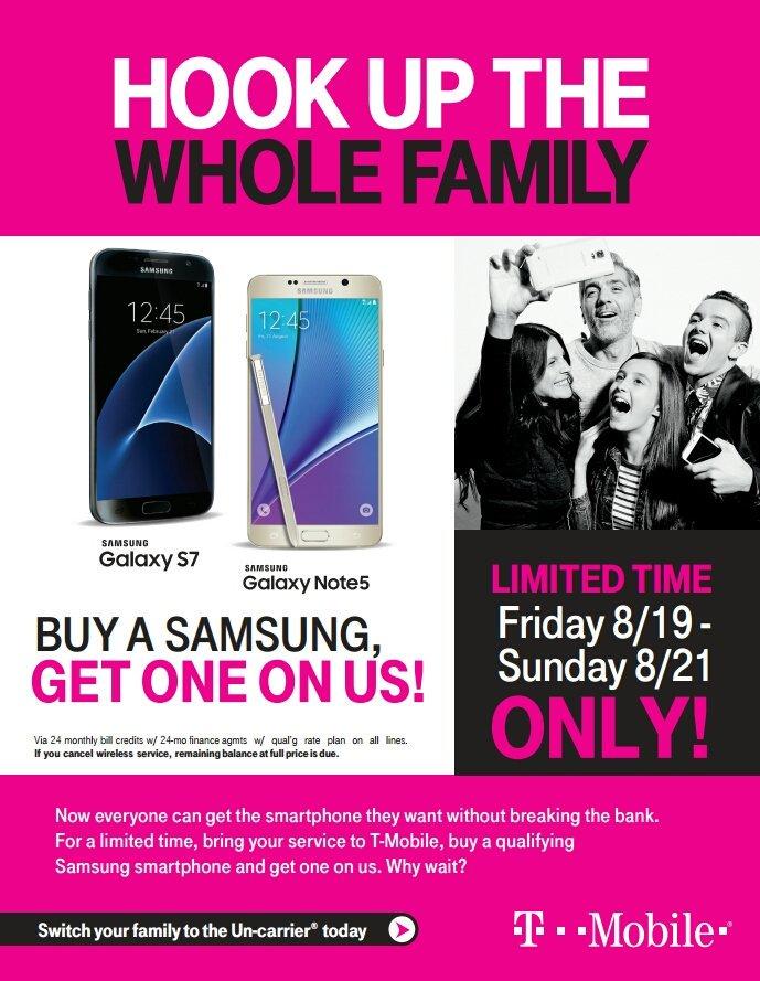 T-Mobile BOGO - Galaxy S7, Galaxy Note 5 - 8/19-8/21