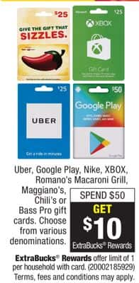 Earn $10 CVS ExtraBucks Rewards on at least $50 Giftcards for Uber, Google Play, Nike, XBOX, Romano's Macaroni Grill, Maggiano's, Chili's or Bass Pro at CVS