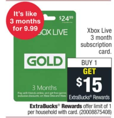 15 Extrabucks On 50 Gift Card Purchases Of Xbox 12 Month Live Gold