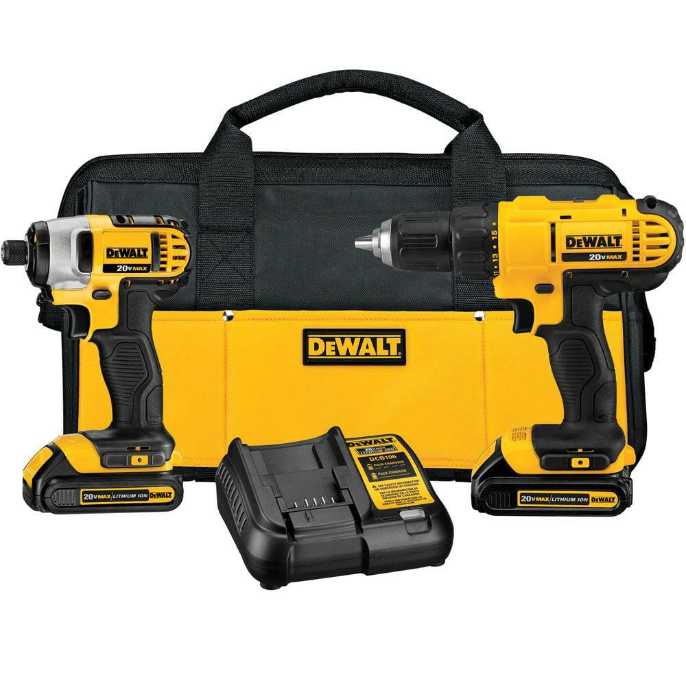 Dewalt 20-Volt MAX Lithium-Ion Cordless Drill/Driver and Impact Combo Kit (2-Tool) with (2) Batteries 1.3Ah, Charger and Bag $139.00