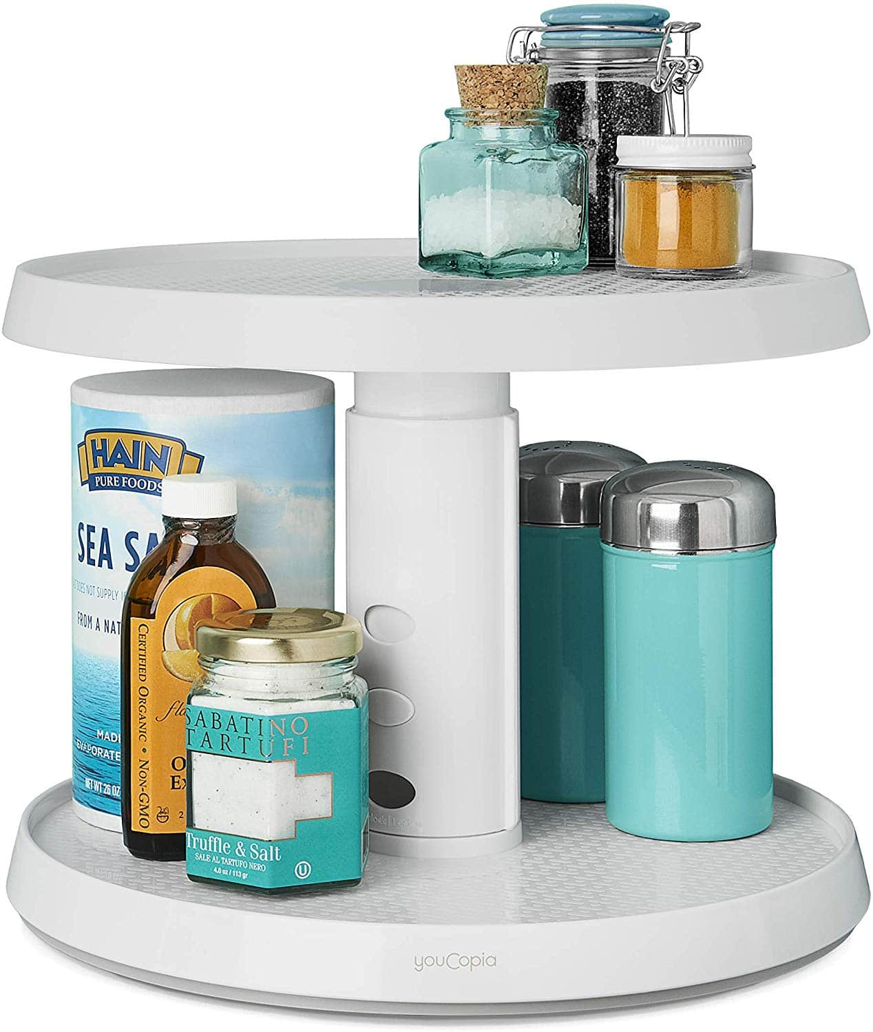YouCopia 2-Tier Height Adjustable Crazy Susan Kitchen Cabinet Turntable and Spice Organizer [Two-Tier Susan] $17.99