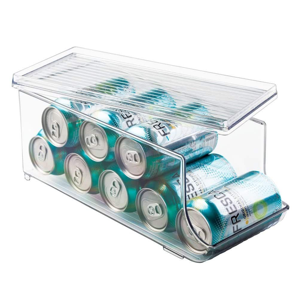 InterDesign Plastic Canned Food and Soda Can Organizer with Lid for Refrigerator, Freezer, and Pantry for Organizing Tea,  Water  $12.4