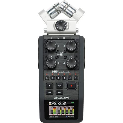 Zoom H6 6-Input / 6-Track Portable Handy Recorder with Interchangeable Mic Capsules $249.99