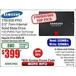 Samsung 850 Pro SSDs 512gb $200/1TB $400 On Sale @ Fry's 9/6 - 9/12 Online & In-Store