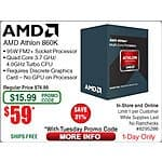 AMD FM2+ Athlon 860K Black Quad Core 3.7/4Ghz Boost $60 + FS AC @Fry's Online & In-Store!