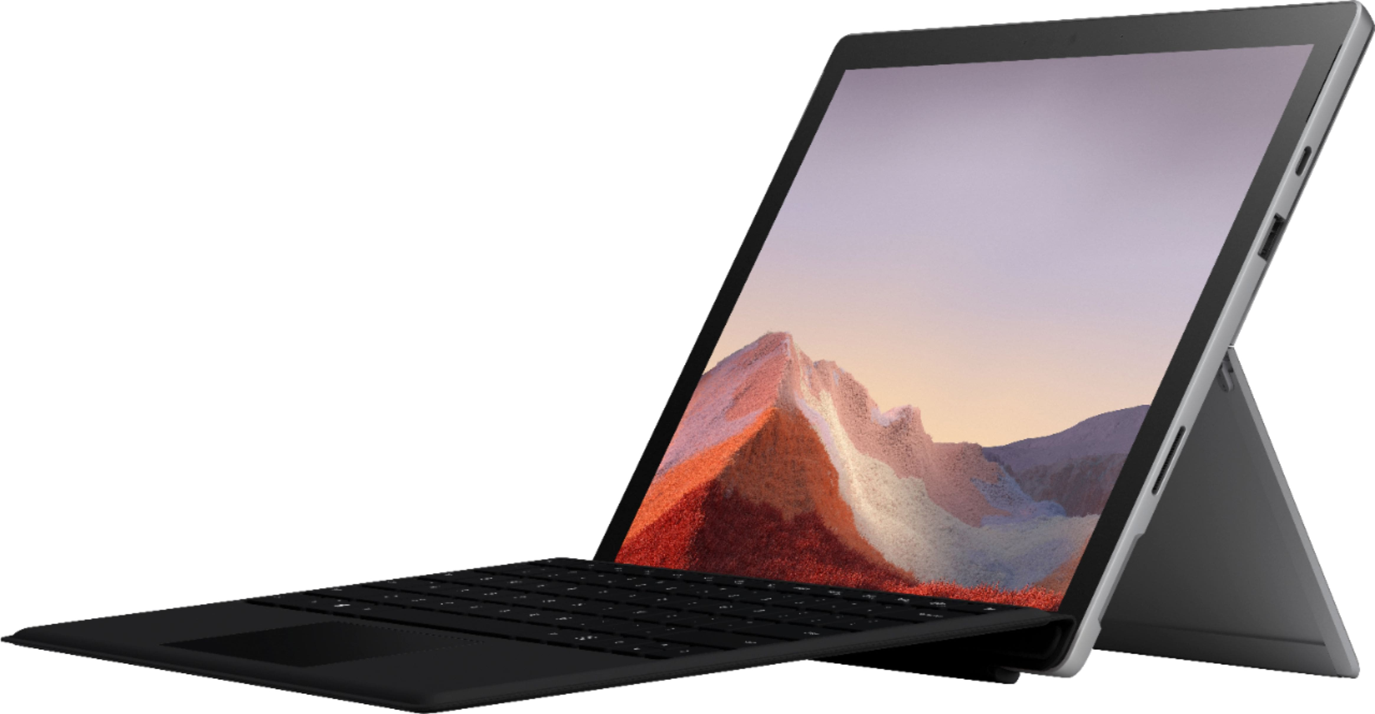 """$230 Off - Microsoft - Surface Pro 7 - 12.3"""" Touch Screen - Intel Core i5 - 8GB Memory - 128GB SSD with Black Type Cover (Latest Model) - Platinum - at BestBuy $799"""