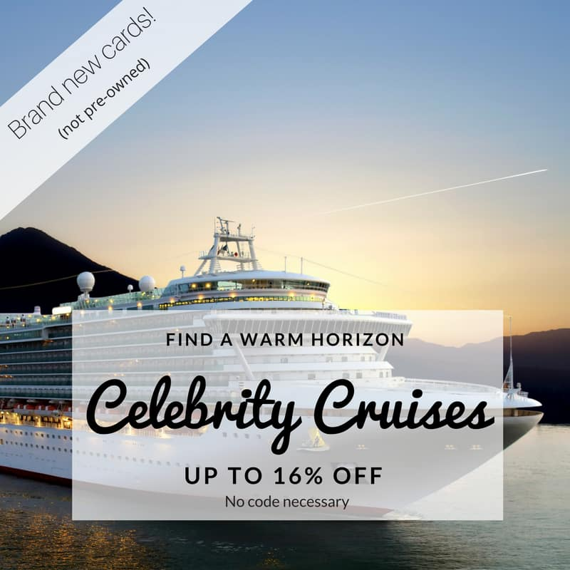 Celebrity Cruise Gift Cards 16% Off: $500 for $420, $250 for $210, $100 for $84, More