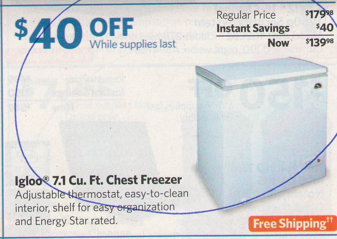 Igloo 7.1 Cu. Ft. Chest Freezer for $139.98 at Sam's Club