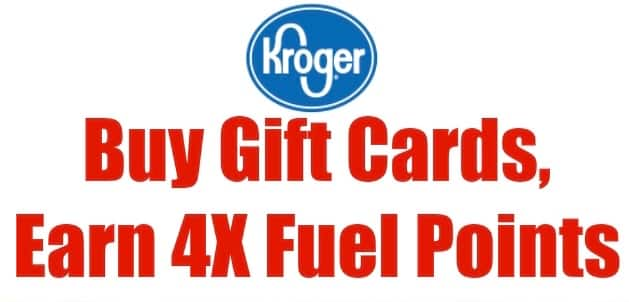 Kroger Digital coupon for 4X fuel points on Gift cards and Visa/MasterCard thru 4-6-21