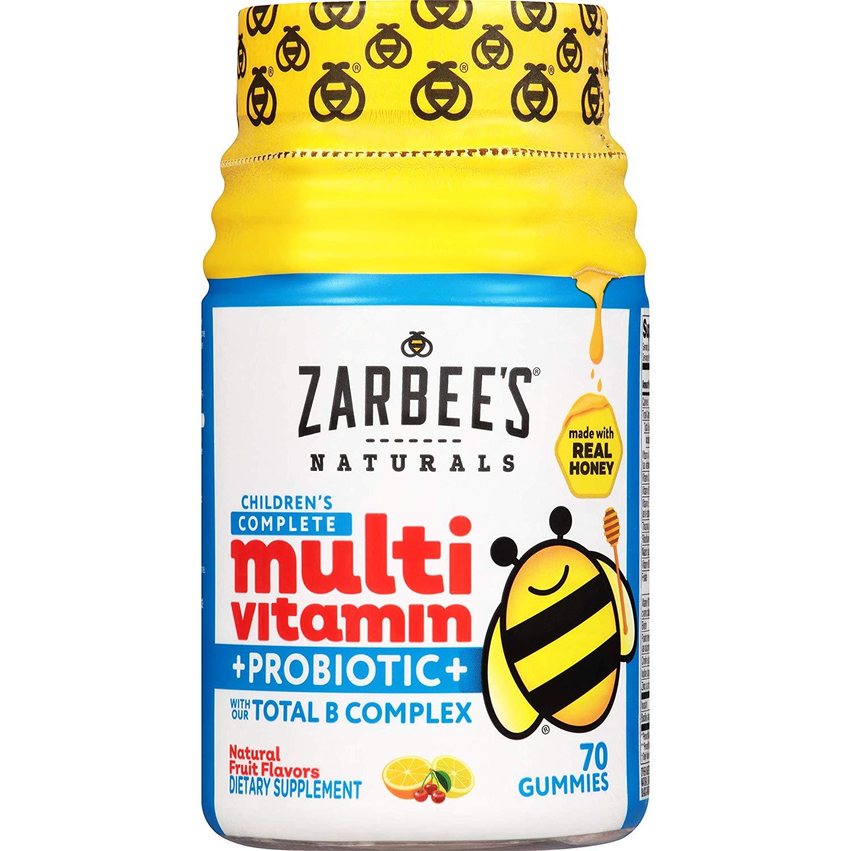 Zarbee's Naturals Children's Complete Multivitamin + Probiotic Gummies, Natural Fruit Flavors, 70 Gummies - $5.97