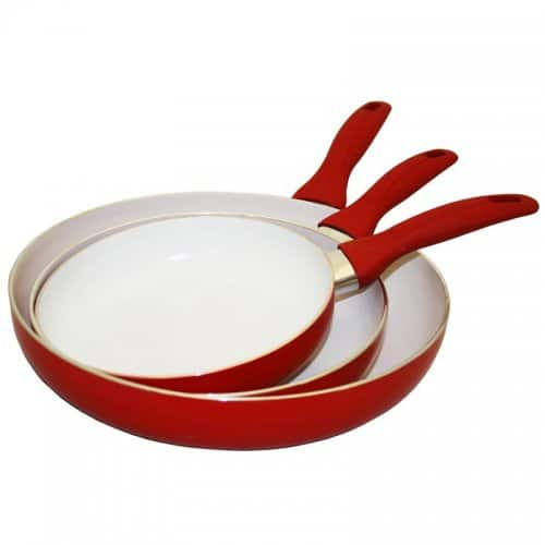 AMAZON: Concord Cookware 3 PC Frying Pan Set - Red for 15.37 Free Shipping