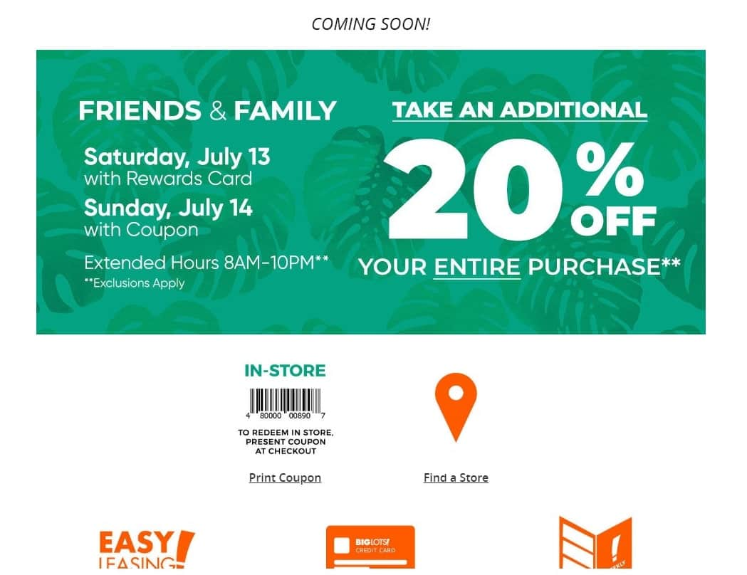 Big Lots 20 Off Coupon Friends And Family Sale Saturday July 13 And