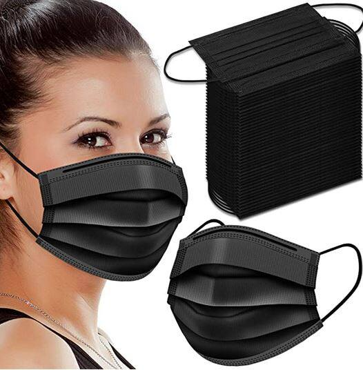 100 Pack Black Disposable Face Masks $10.87