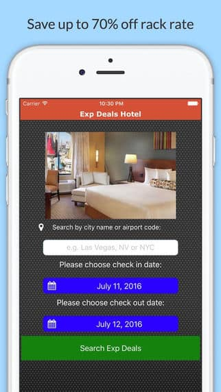 Free iOS app Exp Deals Hotel - Reveal hotel names of Priceline's express deals