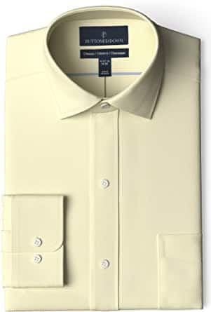 Amazon Brand - Buttoned Down Men's Classic-Fit Solid Non-Iron Dress Shirt Pocket Spread Collar Starting at $4.34 and up