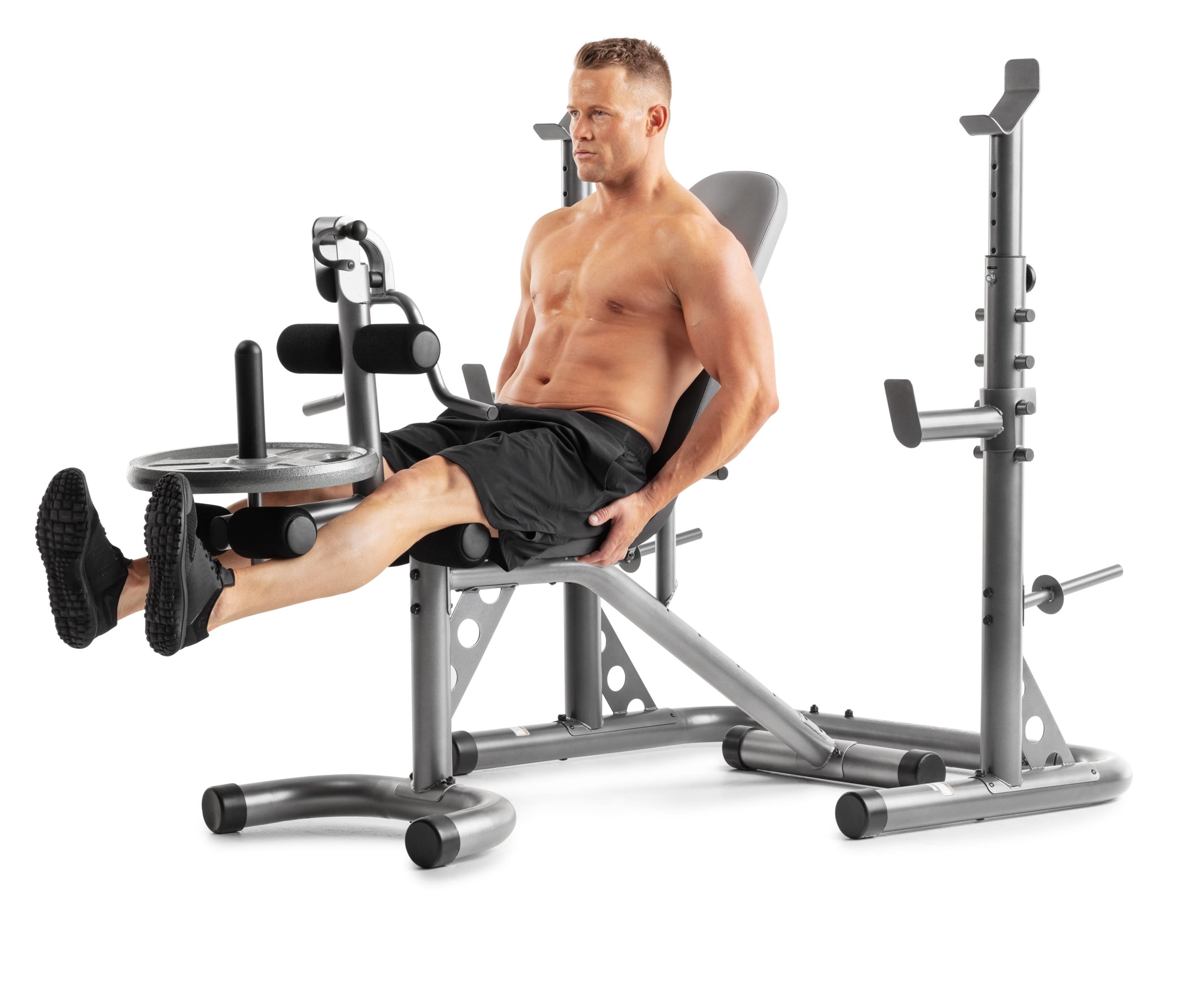 Weider XRS 20 Adjustable Olympic Workout Bench with Independent Squat Rack and Preacher Pad $199.99
