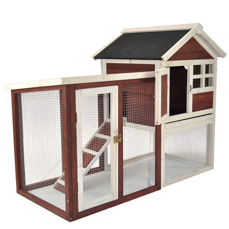 Advantek Stilt House Rabbit Hutch - Wood Bunny Hutch - Auburn (Retail 199.99) $129.99