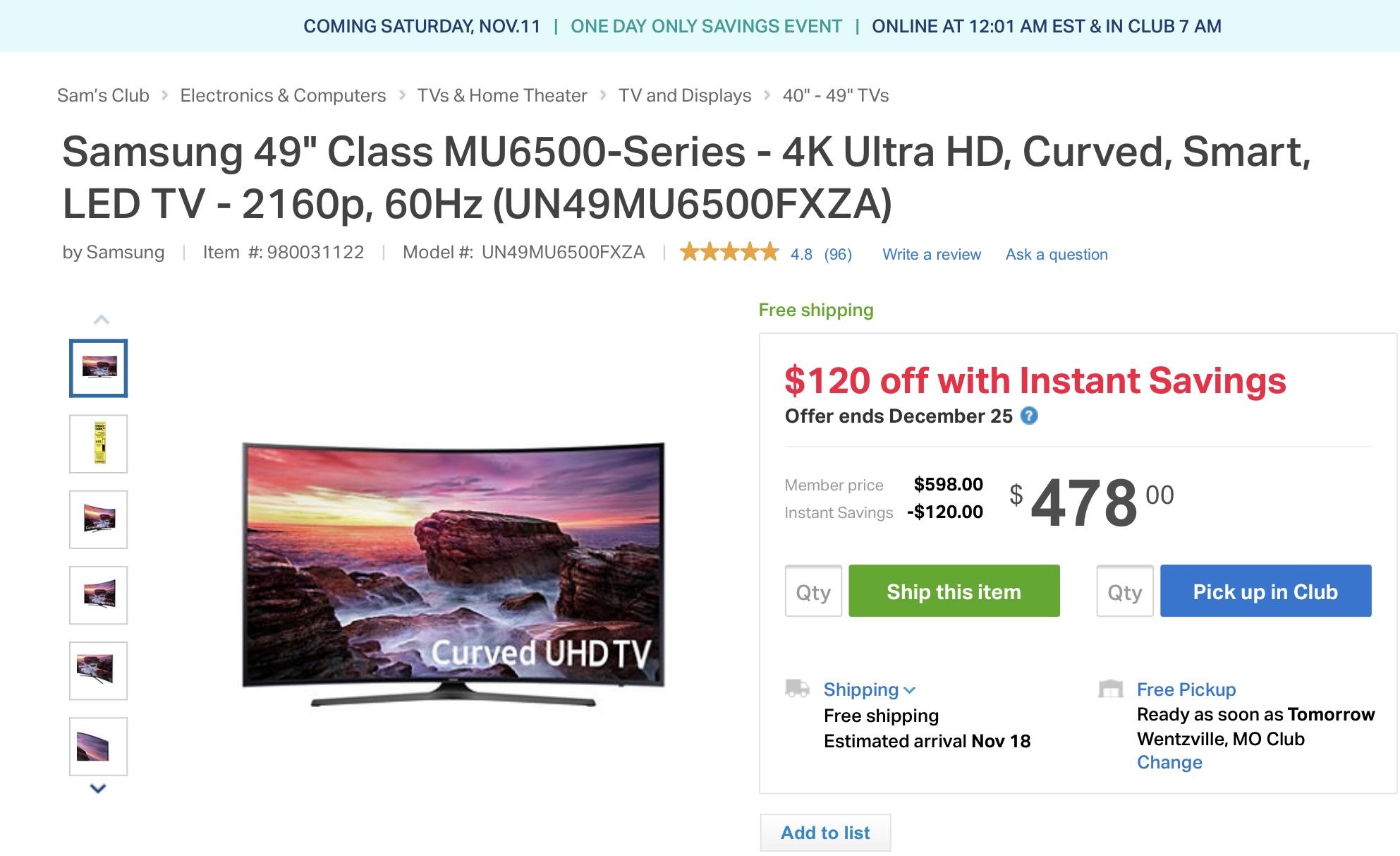 "Samsung 49"" Curved LED MU6500 Series $478"