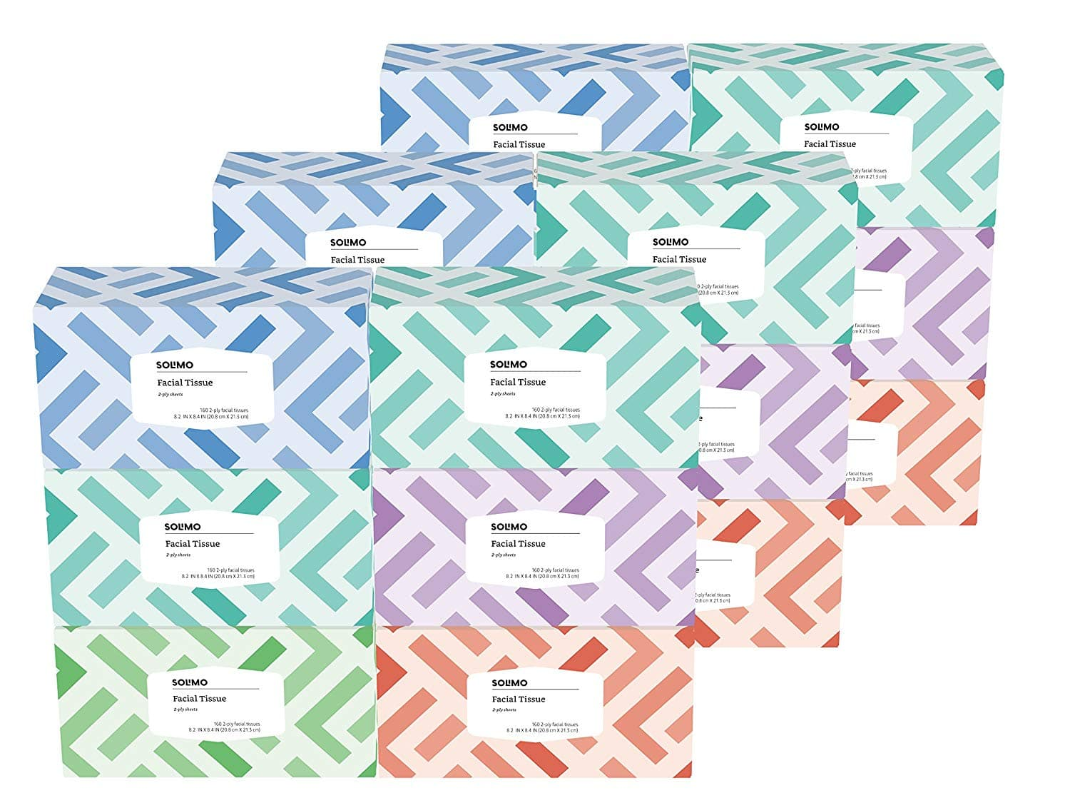 Select Amazon Accts: Amazon Brand - Solimo Facial Tissues, 160 Tissues per Box (18 Flat Boxes) $9.27 w/ S&S + Free S/H