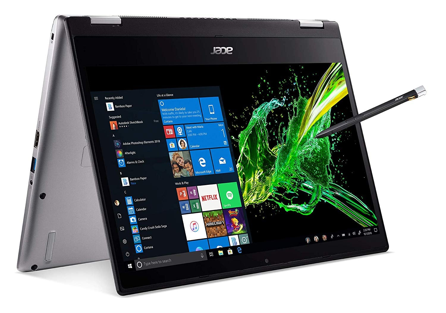 "Acer Spin 3 2-1 flip laptop , 14"" Full HD IPS,  Core i7-8565U, 16GB DDR4, 512GB PCIe NVMe SSD, Backlit Keyboard, Fingerprint Reader, Rechargeable Active Stylus $809 @amazon"