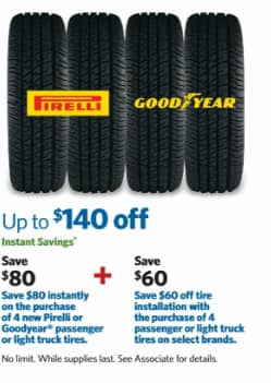 Sams club offer up to $80 off tires and $60 off tire installation on 8/5.