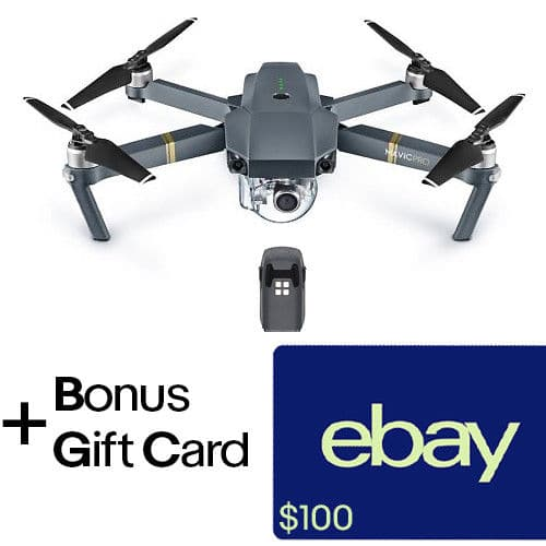 DJI Mavic Pro with $100 dollar gift card + extra battery $899 at eBay.com