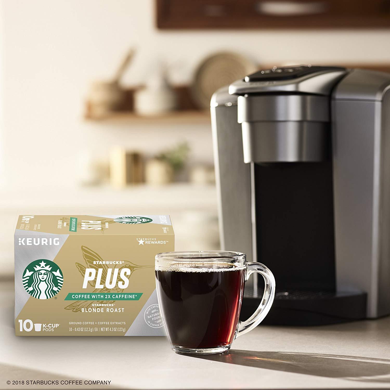Starbucks Plus Coffee Blonde Roast 2X Caffeine K-Cups, 60 K-cups (6 Boxes of 10 K-cups), $17.03 @ Amazon Warehouse ($0.28/K-cup)
