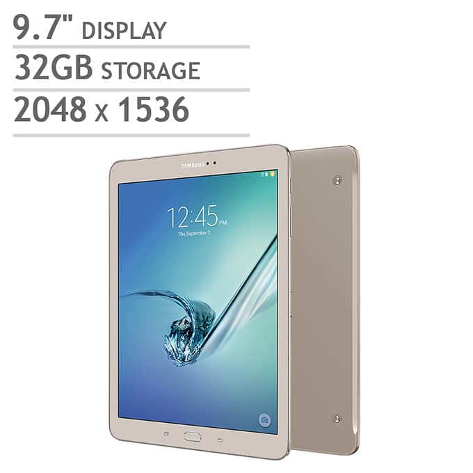 Samsung Galaxy Tab S2 9.7 Wi-Fi Tablet - Octa Core - Android Marshmallow - Gold/Black - Includes Book Cover ($254.99+tax w/ $25 off coupon)