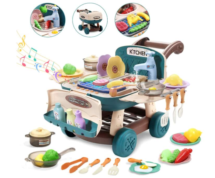 CUTE STONE Play Kitchen Mini Shopping Cart Toy with Music and Light-$13.95