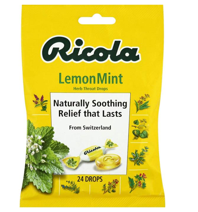Ricola Lemon Mint Herbal Cough Suppressant Throat Drops, 24ct Bag-$1.99