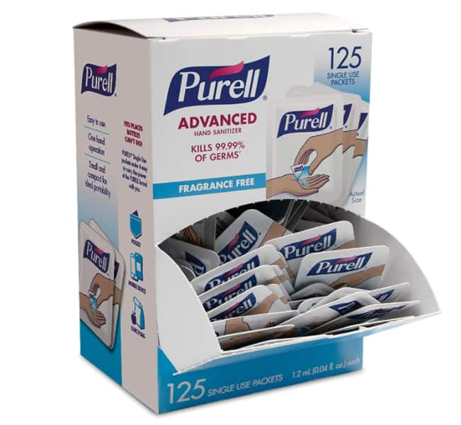 PURELL SINGLES Advanced Hand Sanitizer Gel, Fragrance Free, 125 Count Single-Use Travel Size Packets $14.4