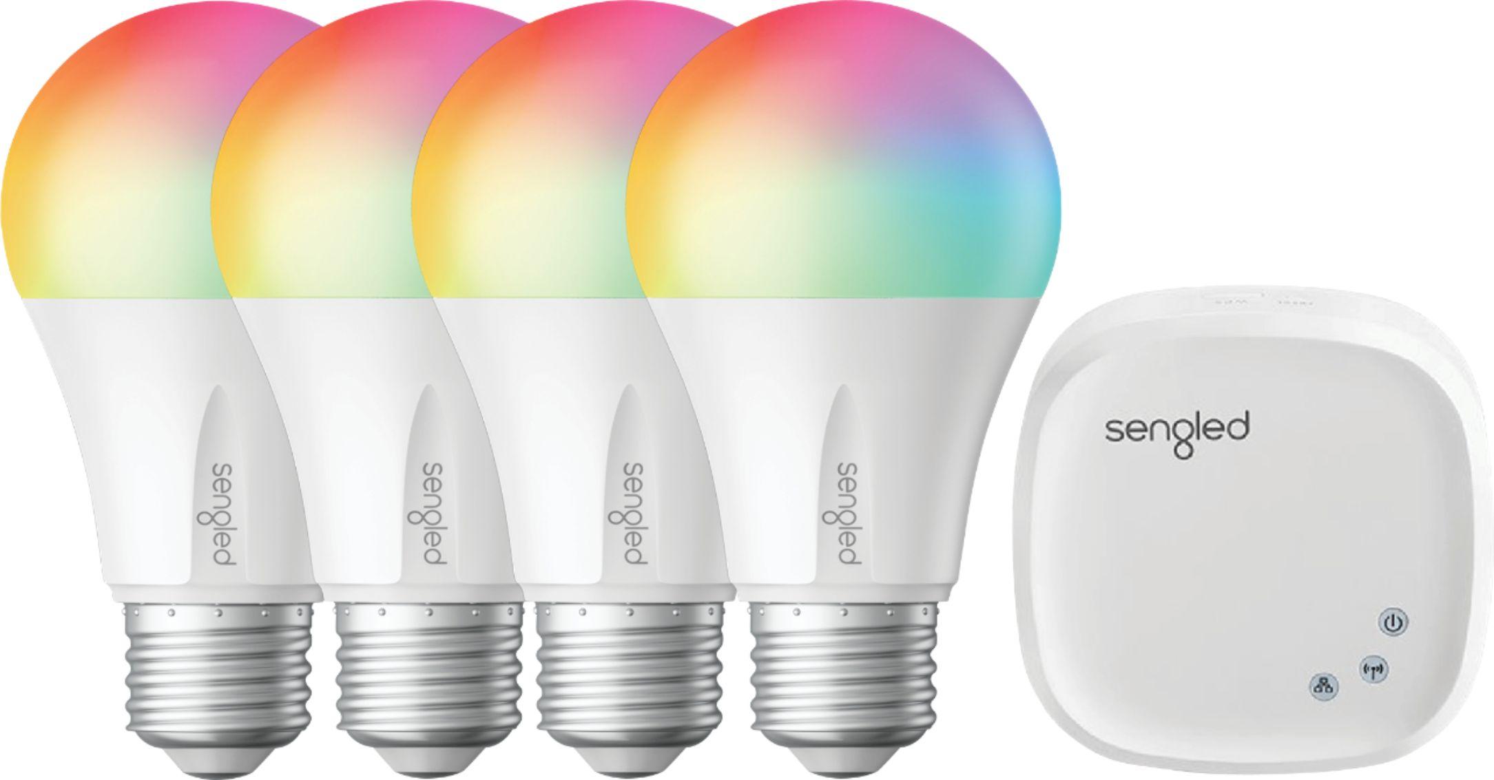 Sengled - Smart LED Multicolor A19 Starter Kit (4-Pack) - Multicolor $69.99